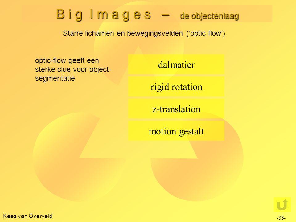 B i g I m a g e s – de objectenlaag Kees van Overveld dalmatier rigid rotation motion gestalt z-translation optic-flow geeft een sterke clue voor object- segmentatie -33- Starre lichamen en bewegingsvelden ('optic flow')