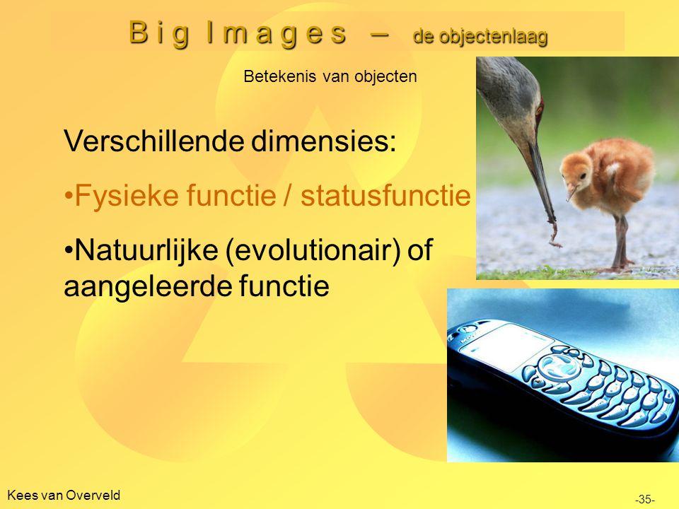 B i g I m a g e s – de objectenlaag Kees van Overveld Betekenis van objecten -35- Verschillende dimensies: Fysieke functie / statusfunctie Natuurlijke (evolutionair) of aangeleerde functie