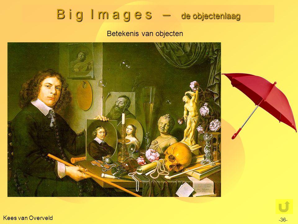 B i g I m a g e s – de objectenlaag Kees van Overveld Betekenis van objecten -36- Verschillende dimensies: Fysieke functie / statusfunctie Natuurlijke (evolutionair) of aangeleerde functie Cultuurbepaalde of cultuuronafhankelijke functie