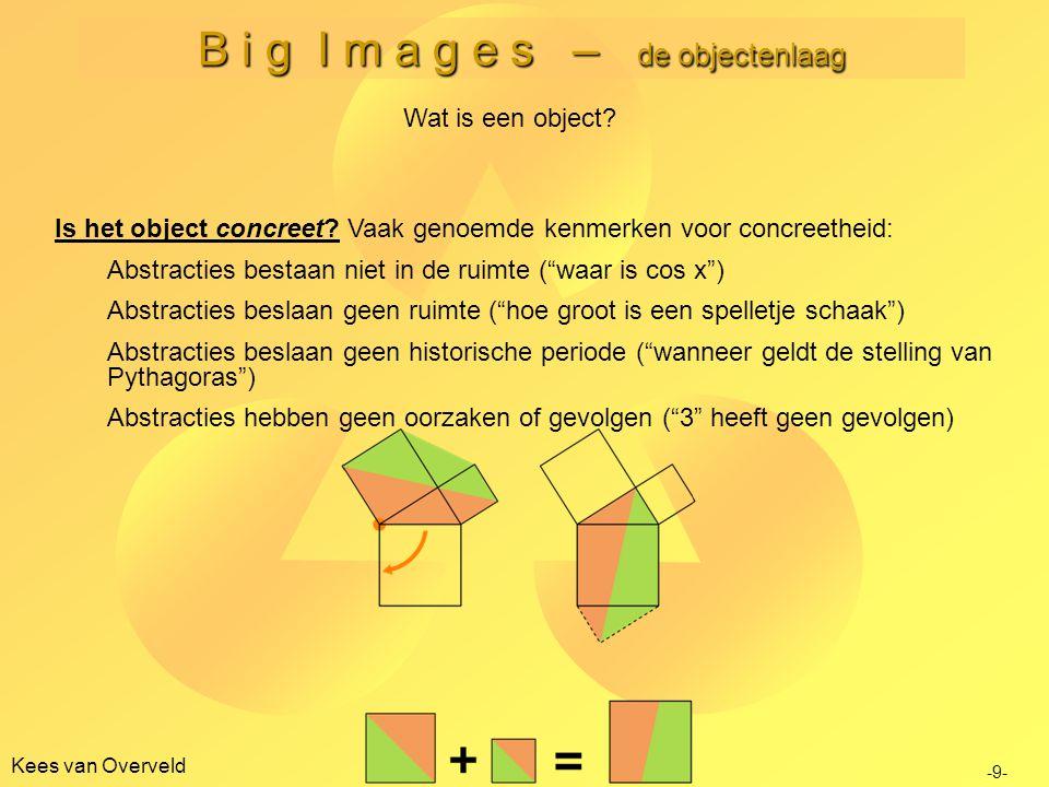 B i g I m a g e s – de objectenlaag Kees van Overveld Is het object concreet.