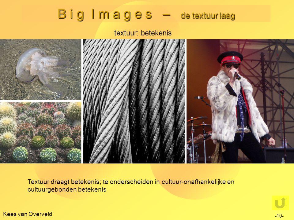 B i g I m a g e s – de textuur laag Kees van Overveld -10- textuur: betekenis Textuur draagt betekenis; te onderscheiden in cultuur-onafhankelijke en cultuurgebonden betekenis