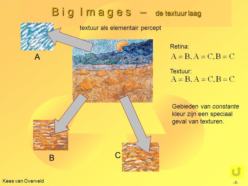 B i g I m a g e s – de textuur laag Kees van Overveld -5- textuur, schaal en oriëntatie D en H puntsgewijs gelijk op de retinalaag (per definitie daarom ook op de textuurlaag) HD A en E alleen gelijk op objectenlaag en hoger ('herfst- blaadjes')AE C en G op de retina- laag overal verschillend, maar dat is nauwelijks vaststelbaar: gelijk- heid op textuurlaag GC FB  zelfde situatie als bij C en G, maar 'n gegeven textuur is alleen maar gedefi- nieerd op een beperkt schaalinterval