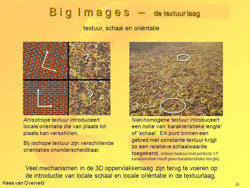 B i g I m a g e s – de textuur laag Kees van Overveld -7- textuur, schaal en oriëntatie De textuurlaag is de enige laag waarop percepten alleen maar binnen een beperkte schaal-range betekenis hebben
