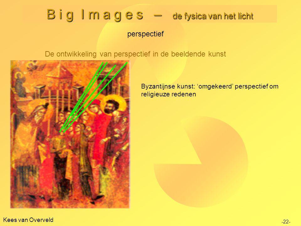 Kees van Overveld B i g I m a g e s – de fysica van het licht De ontwikkeling van perspectief in de beeldende kunst perspectief -22- Byzantijnse kunst: 'omgekeerd' perspectief om religieuze redenen