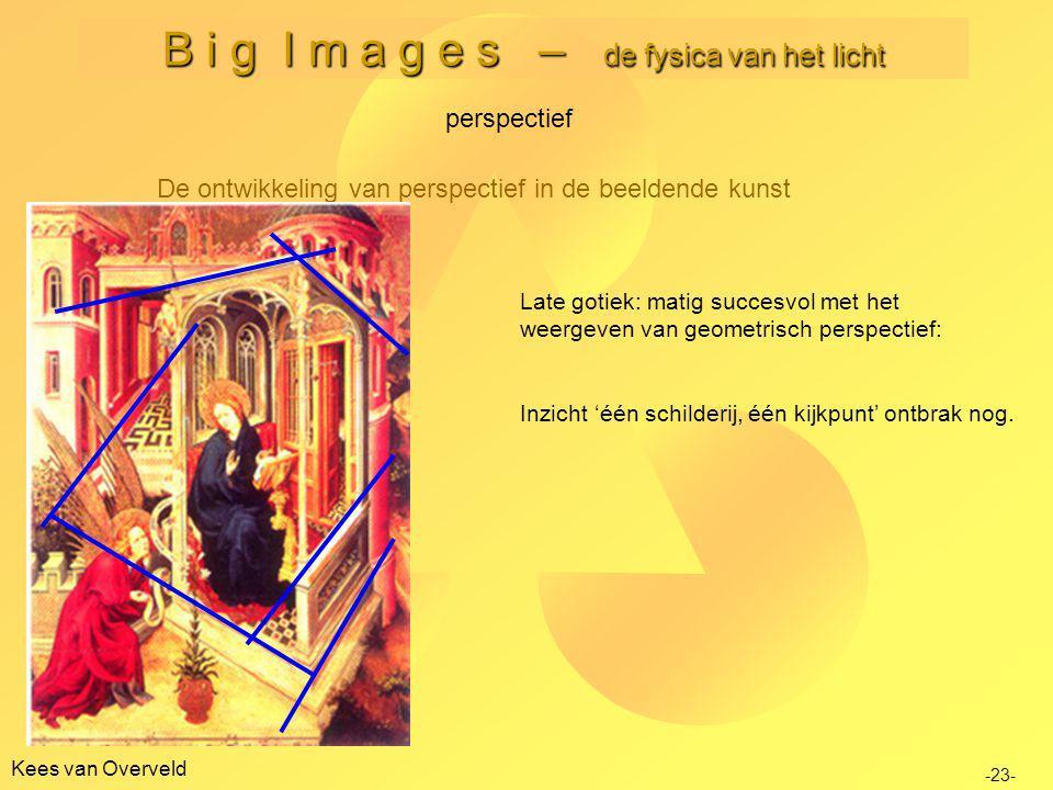 Kees van Overveld B i g I m a g e s – de fysica van het licht De ontwikkeling van perspectief in de beeldende kunst perspectief -23- Late gotiek: matig succesvol met het weergeven van geometrisch perspectief: Inzicht 'één schilderij, één kijkpunt' ontbrak nog.