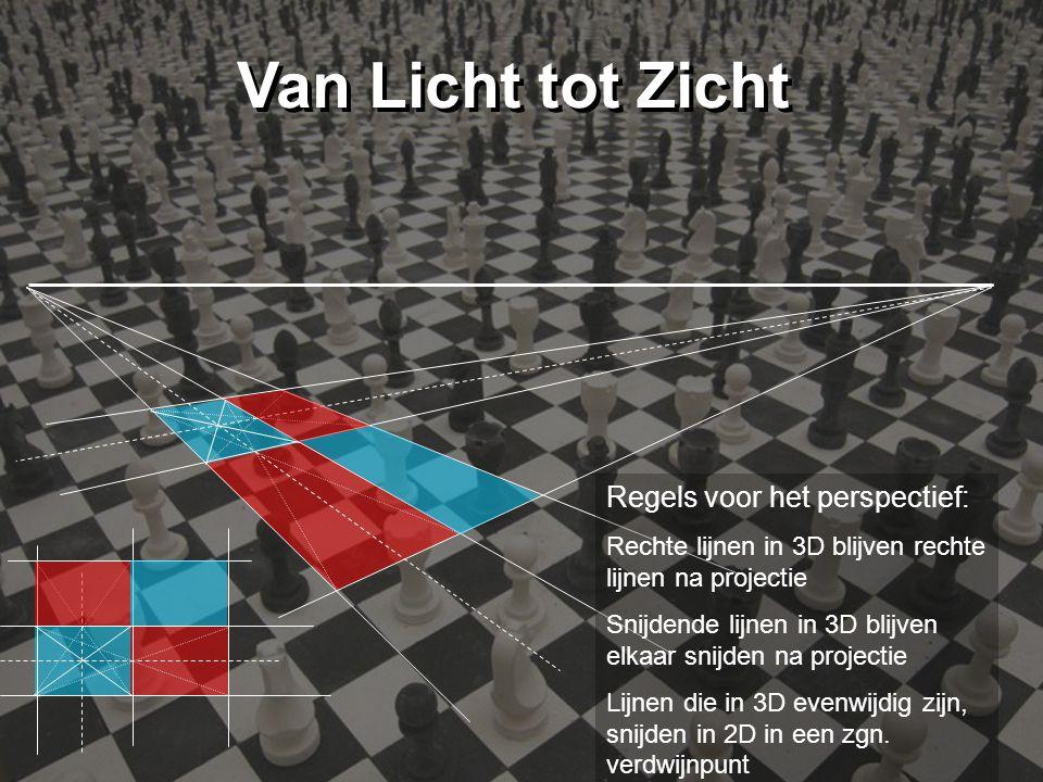 Van Licht tot Zicht Regels voor het perspectief: Rechte lijnen in 3D blijven rechte lijnen na projectie Snijdende lijnen in 3D blijven elkaar snijden na projectie Lijnen die in 3D evenwijdig zijn, snijden in 2D in een zgn.