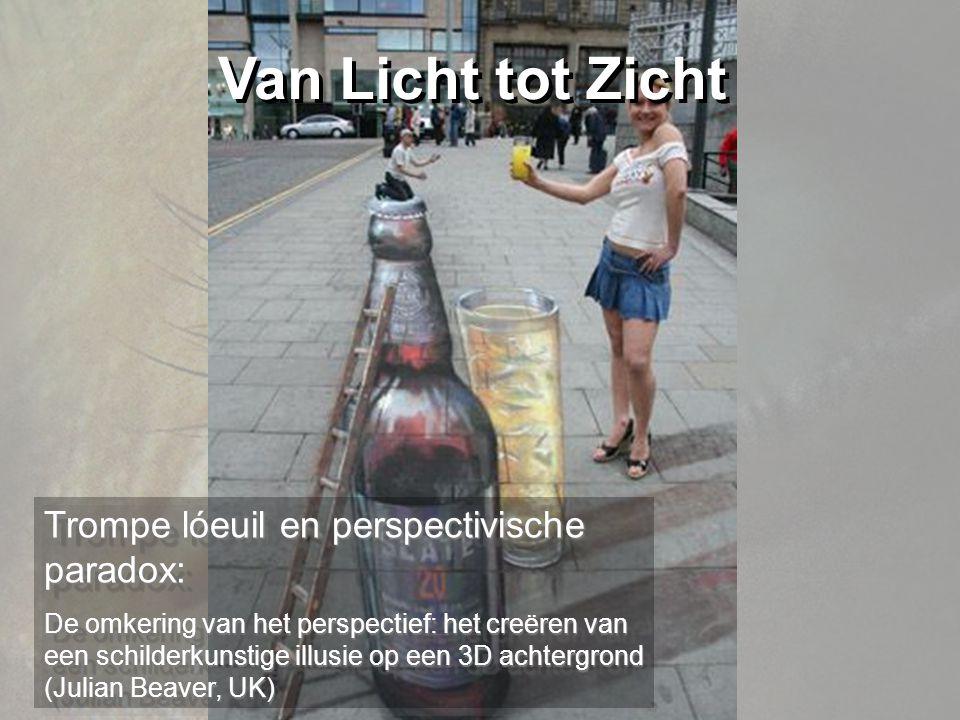 Van Licht tot Zicht Trompe lóeuil en perspectivische paradox: De omkering van het perspectief: het creëren van een schilderkunstige illusie op een 3D achtergrond (Julian Beaver, UK) Trompe lóeuil en perspectivische paradox: De omkering van het perspectief: het creëren van een schilderkunstige illusie op een 3D achtergrond (Julian Beaver, UK)