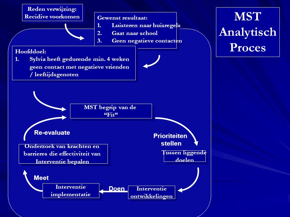Meet Re-evaluate Prioriteiten stellen Doen Tussen liggende doelen Tussen liggende doelen Interventie ontwikkelingen Interventie ontwikkelingen MST beg