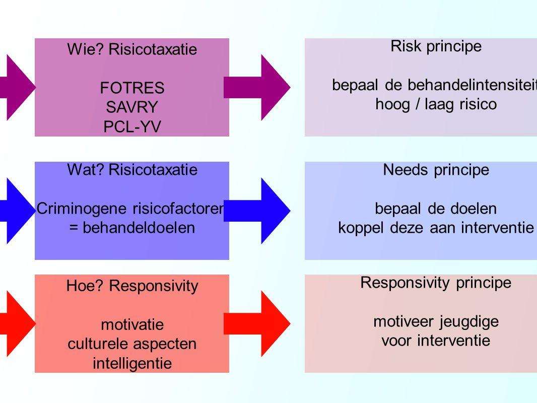 Risk principe bepaal de behandelintensiteit hoog / laag risico Wie? Risicotaxatie FOTRES SAVRY PCL-YV Needs principe bepaal de doelen koppel deze aan