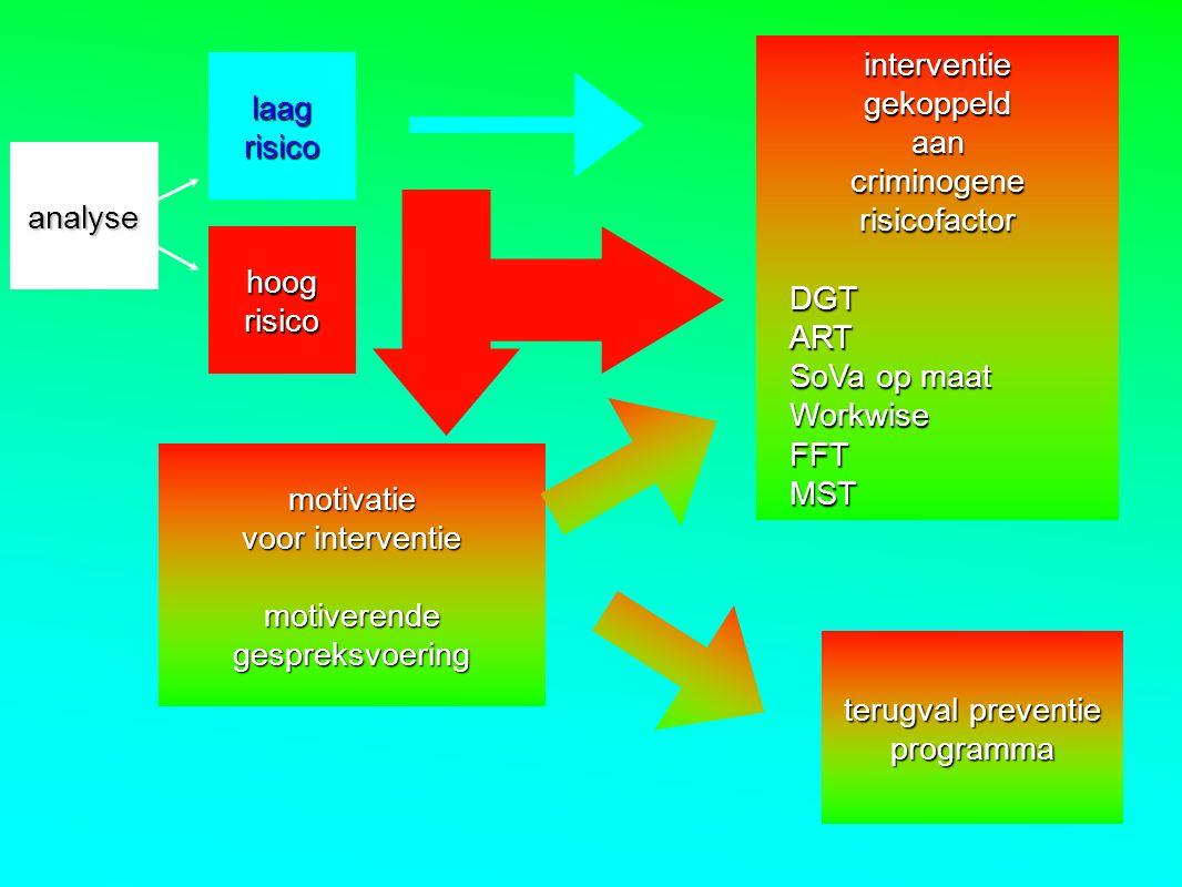 hoog risico laagrisico analyse interventie gekoppeld aan criminogene risicofactor DGTART SoVa op maat WorkwiseFFTMST motivatie voor interventie motive
