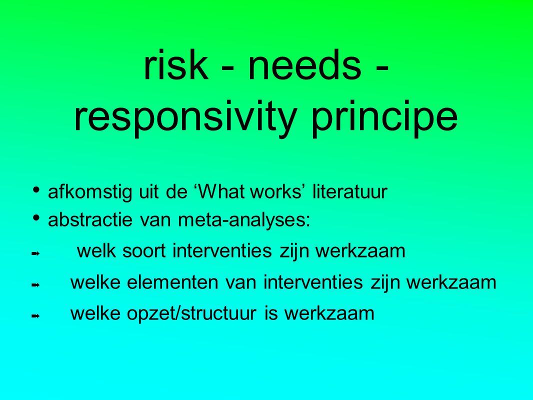risk - needs - responsivity principe afkomstig uit de 'What works' literatuur abstractie van meta-analyses: ➡ welk soort interventies zijn werkzaam ➡