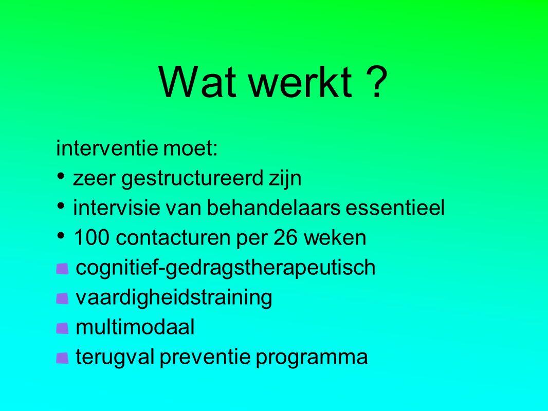 Wat werkt ? interventie moet: zeer gestructureerd zijn intervisie van behandelaars essentieel 100 contacturen per 26 weken cognitief-gedragstherapeuti