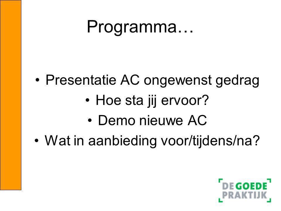 Programma… Presentatie AC ongewenst gedrag Hoe sta jij ervoor? Demo nieuwe AC Wat in aanbieding voor/tijdens/na?