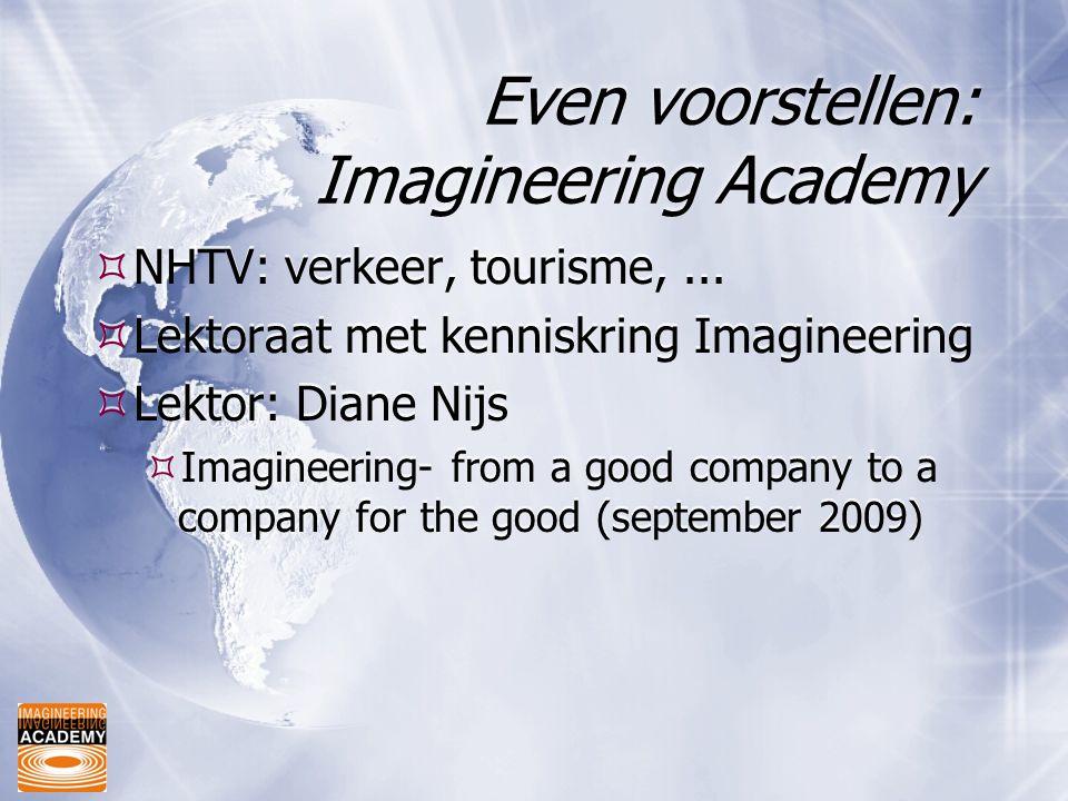 Even voorstellen: Imagineering Academy  NHTV: verkeer, tourisme,...  Lektoraat met kenniskring Imagineering  Lektor: Diane Nijs  Imagineering- fro