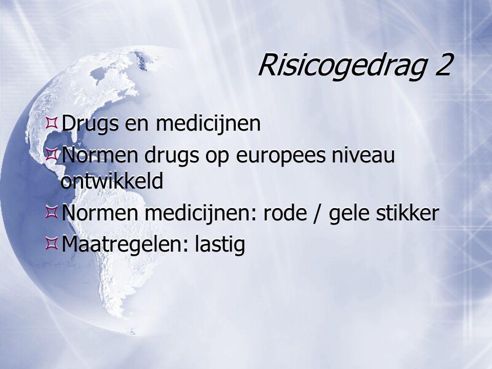 Risicogedrag 2  Drugs en medicijnen  Normen drugs op europees niveau ontwikkeld  Normen medicijnen: rode / gele stikker  Maatregelen: lastig  Drugs en medicijnen  Normen drugs op europees niveau ontwikkeld  Normen medicijnen: rode / gele stikker  Maatregelen: lastig