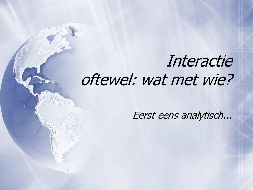 Interactie oftewel: wat met wie Eerst eens analytisch...