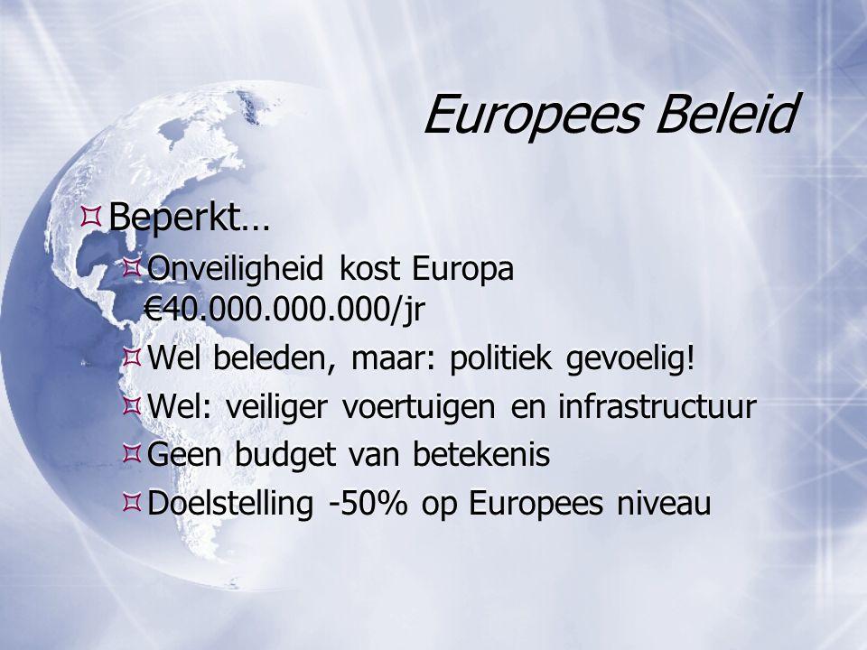 Europees Beleid  Beperkt…  Onveiligheid kost Europa €40.000.000.000/jr  Wel beleden, maar: politiek gevoelig!  Wel: veiliger voertuigen en infrast
