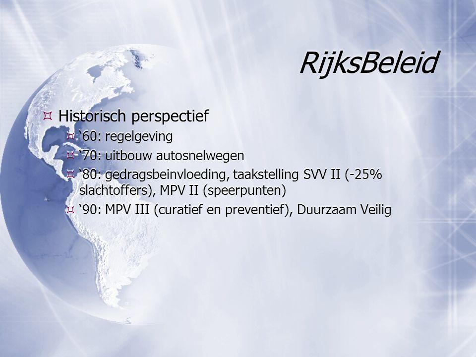 RijksBeleid  Historisch perspectief  '60: regelgeving  '70: uitbouw autosnelwegen  '80: gedragsbeinvloeding, taakstelling SVV II (-25% slachtoffer