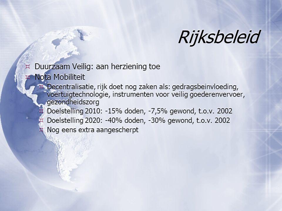 Rijksbeleid  Duurzaam Veilig: aan herziening toe  Nota Mobiliteit  Decentralisatie, rijk doet nog zaken als: gedragsbeinvloeding, voertuigtechnologie, instrumenten voor veilig goederenvervoer, gezondheidszorg  Doelstelling 2010: -15% doden, -7,5% gewond, t.o.v.