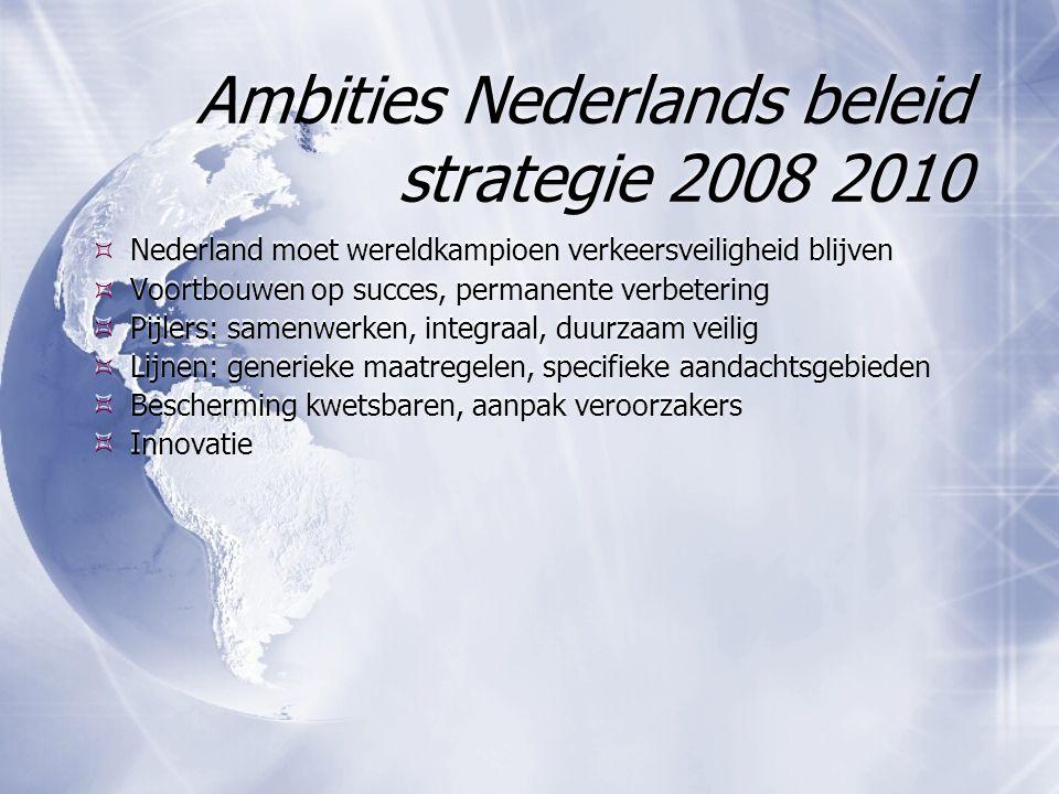 Ambities Nederlands beleid strategie 2008 2010  Nederland moet wereldkampioen verkeersveiligheid blijven  Voortbouwen op succes, permanente verbeter
