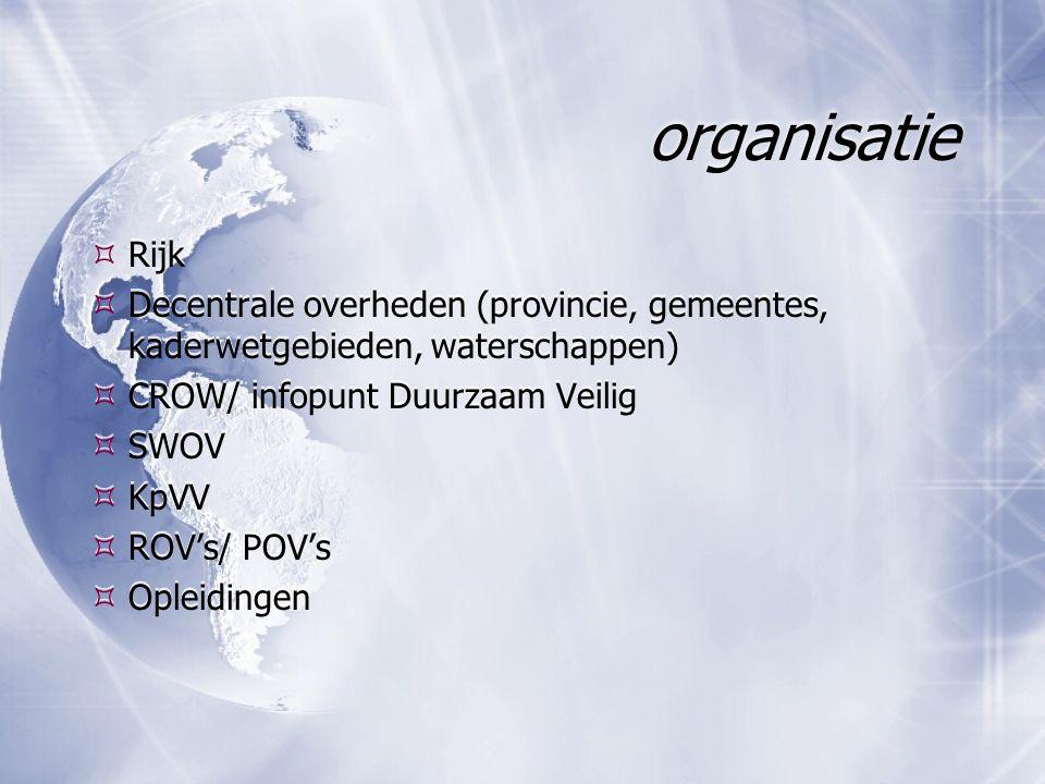 organisatie  Rijk  Decentrale overheden (provincie, gemeentes, kaderwetgebieden, waterschappen)  CROW/ infopunt Duurzaam Veilig  SWOV  KpVV  ROV