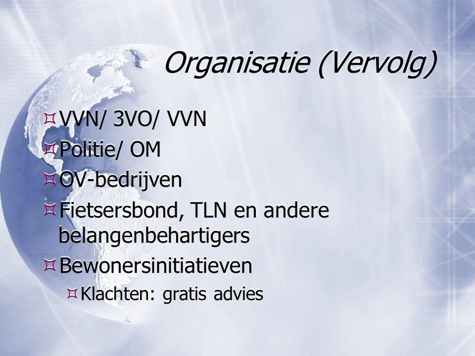 Organisatie (Vervolg)  VVN/ 3VO/ VVN  Politie/ OM  OV-bedrijven  Fietsersbond, TLN en andere belangenbehartigers  Bewonersinitiatieven  Klachten