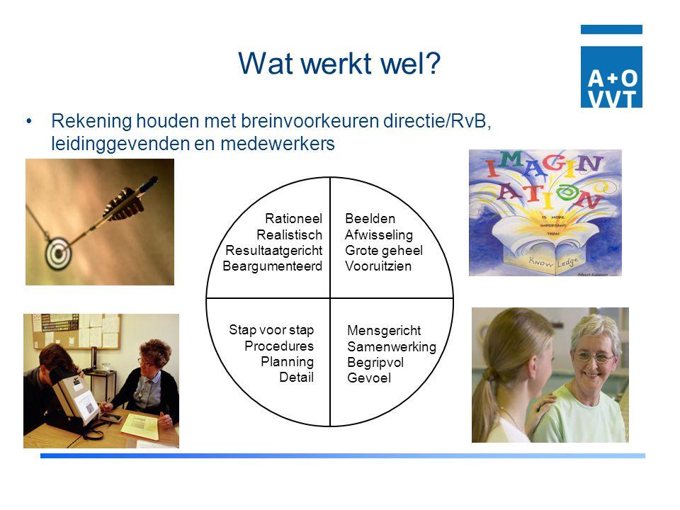 Wat werkt wel? Rekening houden met breinvoorkeuren directie/RvB, leidinggevenden en medewerkers Rationeel Realistisch Resultaatgericht Beargumenteerd