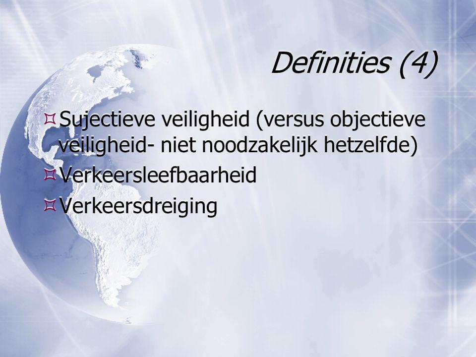 Definities (4)  Sujectieve veiligheid (versus objectieve veiligheid- niet noodzakelijk hetzelfde)  Verkeersleefbaarheid  Verkeersdreiging  Sujecti
