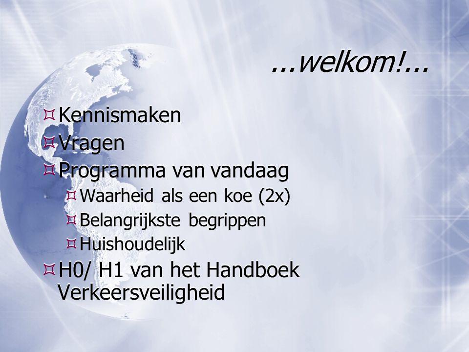 ...welkom!...  Kennismaken  Vragen  Programma van vandaag  Waarheid als een koe (2x)  Belangrijkste begrippen  Huishoudelijk  H0/ H1 van het Ha