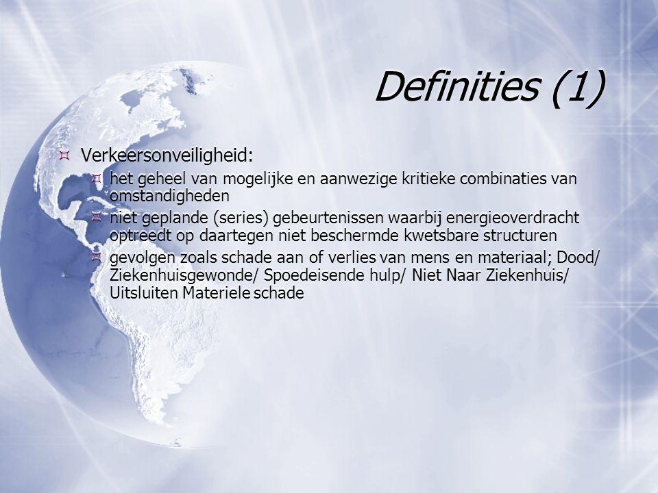 Definities (2)  Verkeersrisico : de kans op schade of een ongewenst gevolg van deelname aan een activiteit of van blootstelling aan een gevaarlijke situatie  Rekenkundige definitie: Risico= onveiligheid/ expositie  Verkeersrisico : de kans op schade of een ongewenst gevolg van deelname aan een activiteit of van blootstelling aan een gevaarlijke situatie  Rekenkundige definitie: Risico= onveiligheid/ expositie