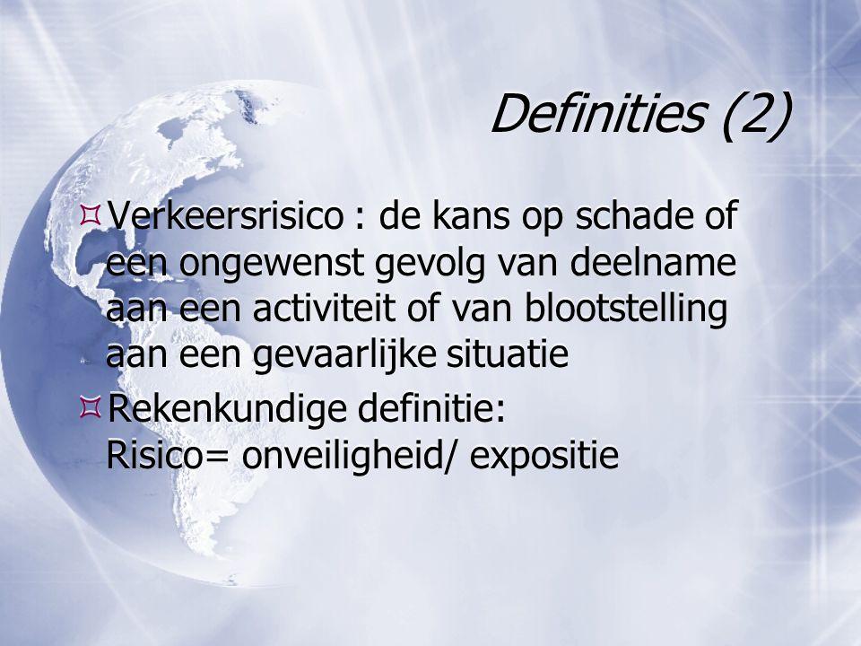 Definities (2)  Verkeersrisico : de kans op schade of een ongewenst gevolg van deelname aan een activiteit of van blootstelling aan een gevaarlijke s