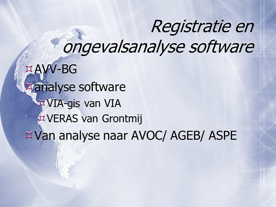 Registratie en ongevalsanalyse software  AVV-BG  analyse software  VIA-gis van VIA  VERAS van Grontmij  Van analyse naar AVOC/ AGEB/ ASPE  AVV-BG  analyse software  VIA-gis van VIA  VERAS van Grontmij  Van analyse naar AVOC/ AGEB/ ASPE