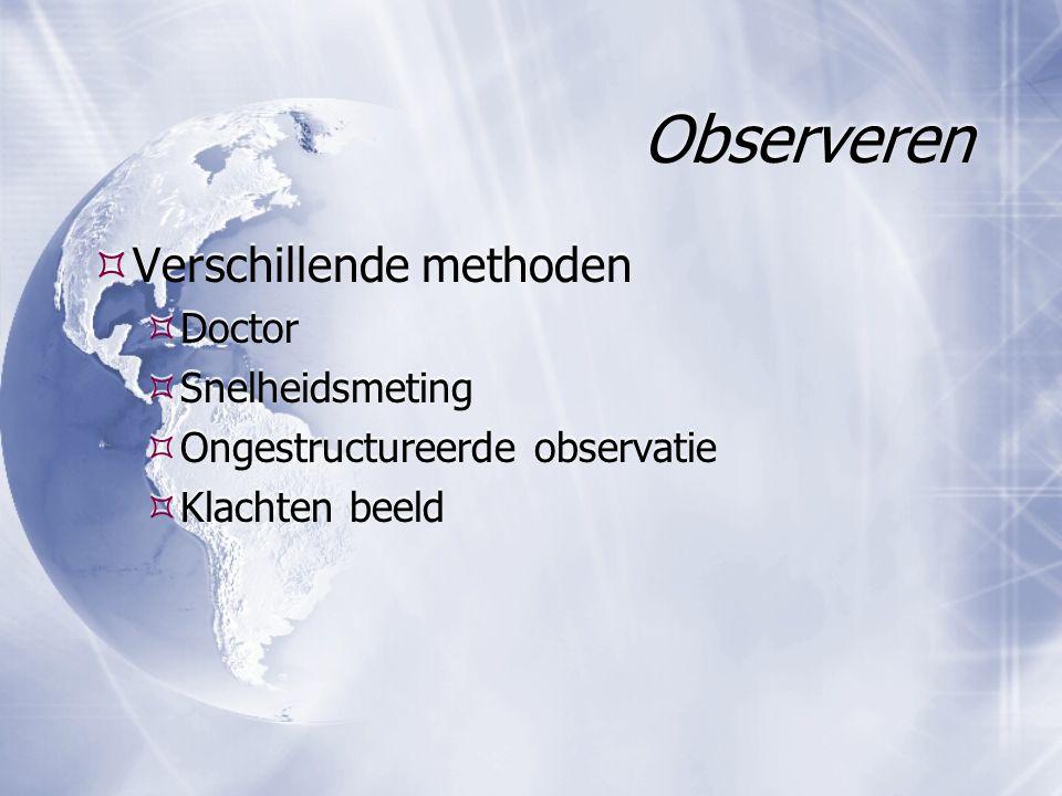 Observeren  Verschillende methoden  Doctor  Snelheidsmeting  Ongestructureerde observatie  Klachten beeld  Verschillende methoden  Doctor  Snelheidsmeting  Ongestructureerde observatie  Klachten beeld