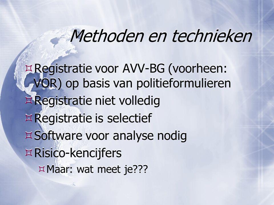 Methoden en technieken  Registratie voor AVV-BG (voorheen: VOR) op basis van politieformulieren  Registratie niet volledig  Registratie is selectief  Software voor analyse nodig  Risico-kencijfers  Maar: wat meet je??.