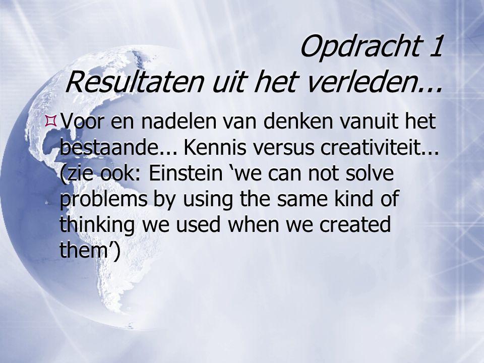 Opdracht 1 Resultaten uit het verleden...  Voor en nadelen van denken vanuit het bestaande...