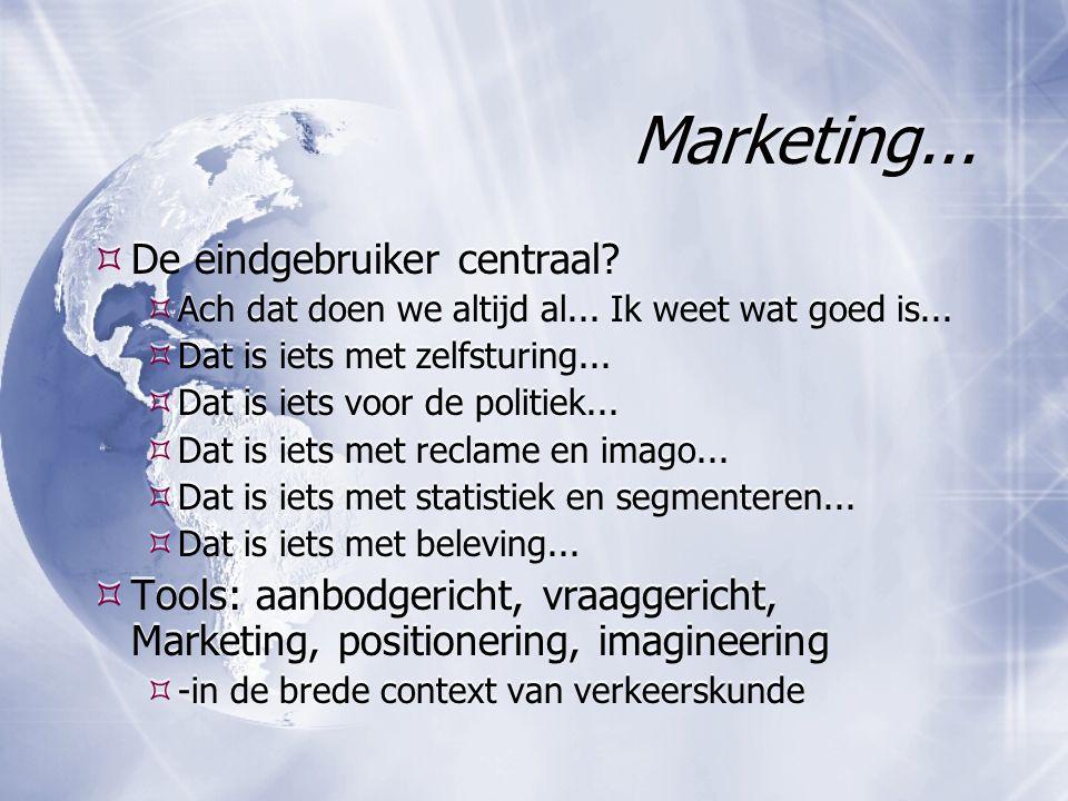 Marketing... De eindgebruiker centraal.  Ach dat doen we altijd al...