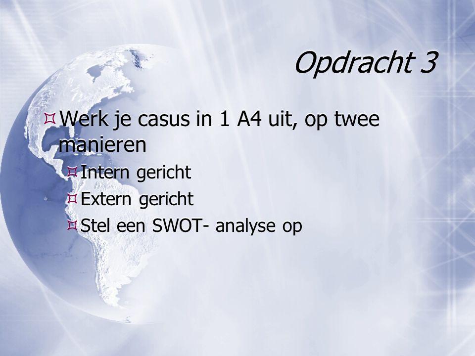 Opdracht 3  Werk je casus in 1 A4 uit, op twee manieren  Intern gericht  Extern gericht  Stel een SWOT- analyse op  Werk je casus in 1 A4 uit, op twee manieren  Intern gericht  Extern gericht  Stel een SWOT- analyse op