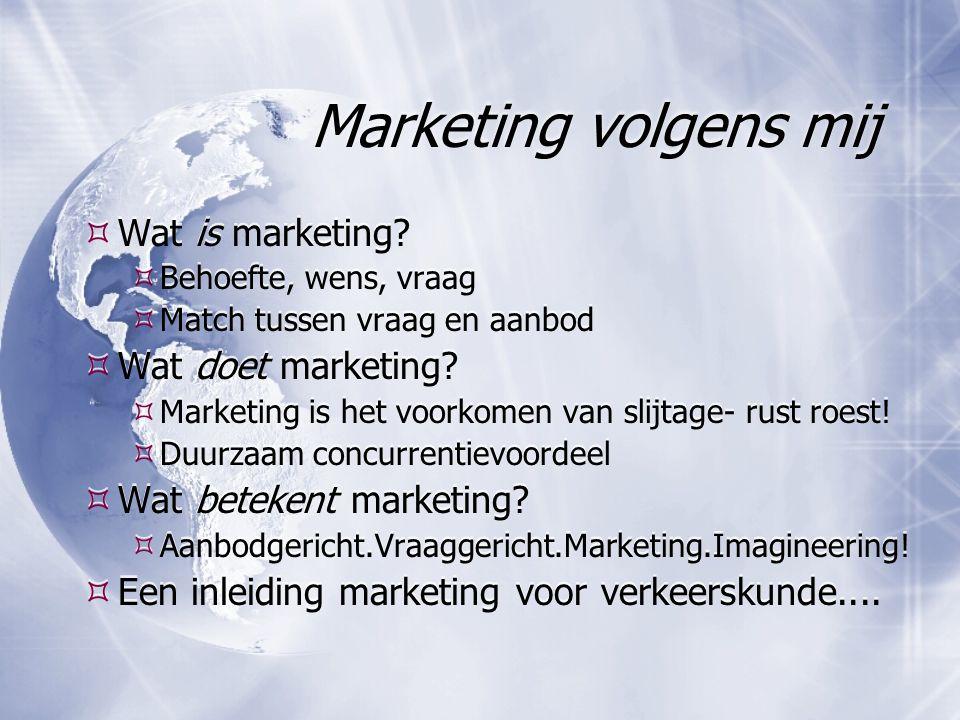 Marketing volgens mij  Wat is marketing?  Behoefte, wens, vraag  Match tussen vraag en aanbod  Wat doet marketing?  Marketing is het voorkomen va