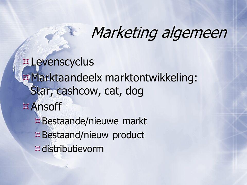 Marketing algemeen  Levenscyclus  Marktaandeelx marktontwikkeling: Star, cashcow, cat, dog  Ansoff  Bestaande/nieuwe markt  Bestaand/nieuw produc