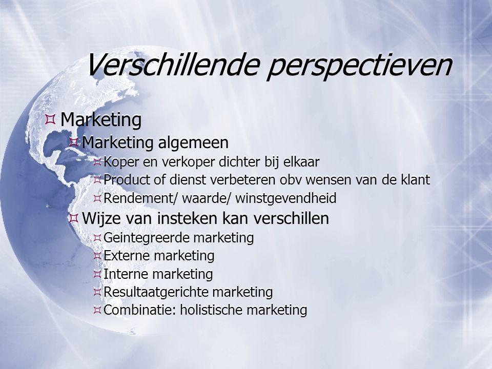 Verschillende perspectieven  Marketing  Marketing algemeen  Koper en verkoper dichter bij elkaar  Product of dienst verbeteren obv wensen van de k