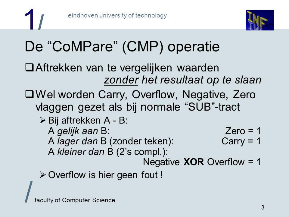 1/1/ eindhoven university of technology / faculty of Computer Science 3 De CoMPare (CMP) operatie  Aftrekken van te vergelijken waarden zonder het resultaat op te slaan  Wel worden Carry, Overflow, Negative, Zero vlaggen gezet als bij normale SUB -tract  Bij aftrekken A - B: A gelijk aan B:Zero = 1 A lager dan B (zonder teken):Carry = 1 A kleiner dan B (2's compl.): Negative XOR Overflow = 1  Overflow is hier geen fout !