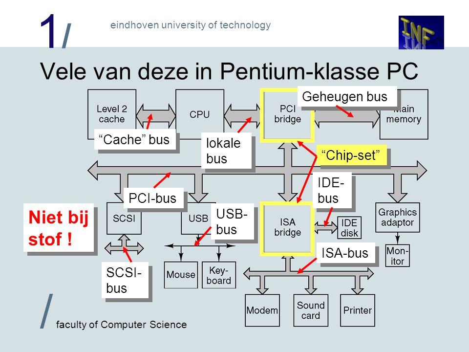 1/1/ eindhoven university of technology / faculty of Computer Science Chip-set Vele van deze in Pentium-klasse PC ISA-bus IDE- bus USB- bus SCSI- bus Cache bus lokale bus Geheugen bus PCI-bus Niet bij stof !