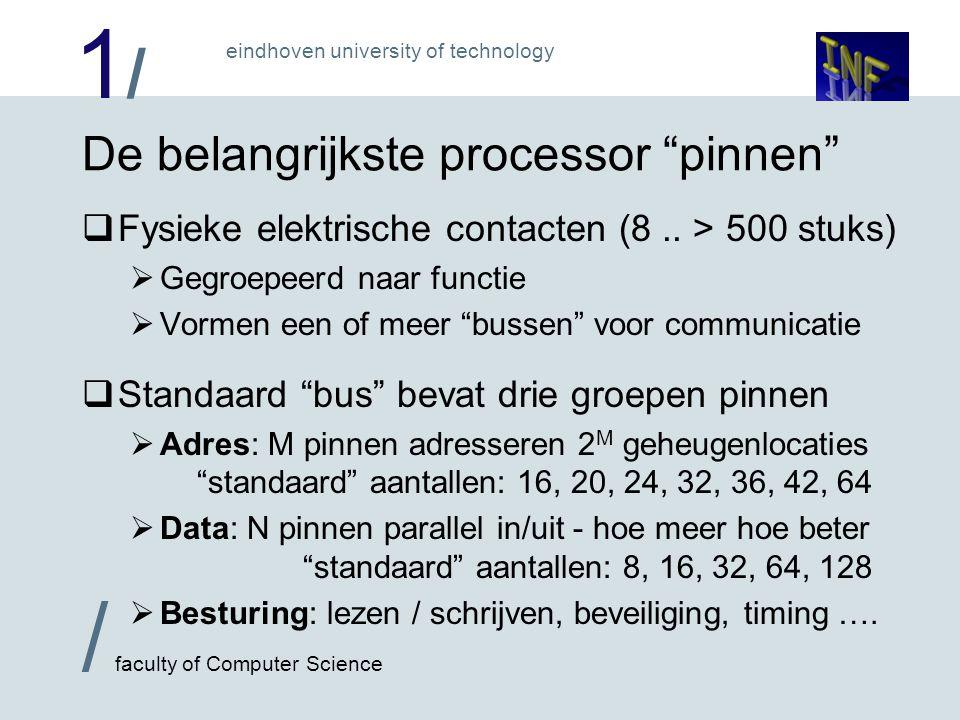 1/1/ eindhoven university of technology / faculty of Computer Science De belangrijkste processor pinnen  Fysieke elektrische contacten (8..
