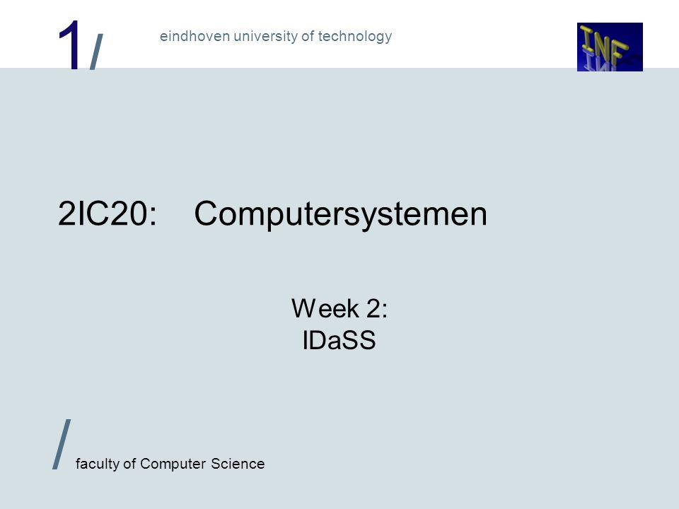 1/1/ eindhoven university of technology / faculty of Computer Science 2 IDaSS:  IDaSS staat voor: Interactive Design and Simulation System  Beschikbaar op de vakhomepage: http://www.win.tue.nl/~michaelf/2IC20  In IDaSS bouw je schakelingen m.b.v.