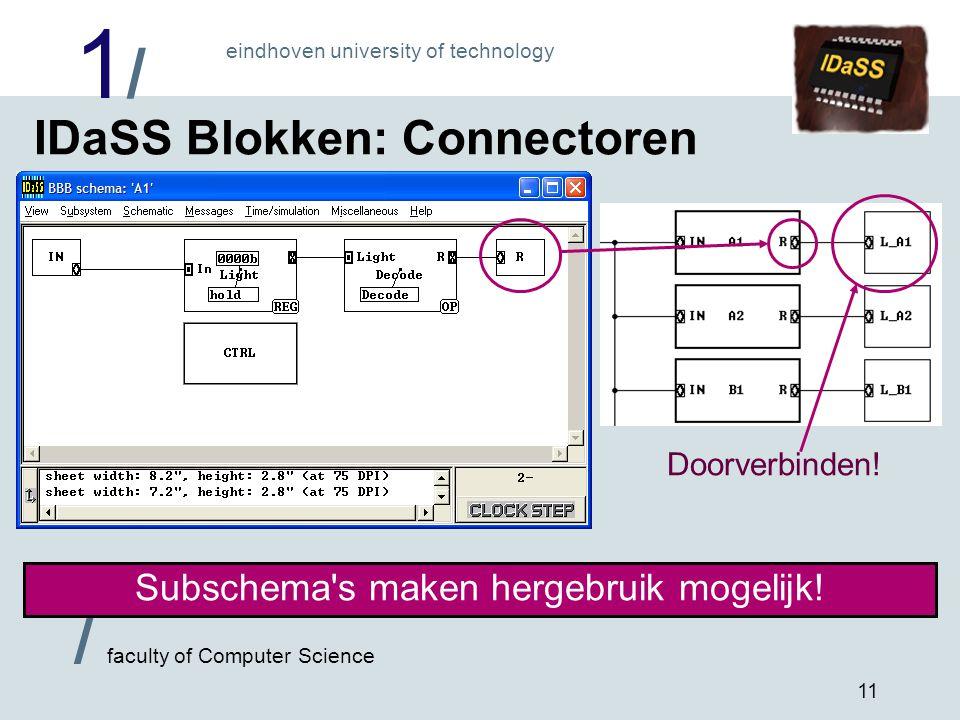1/1/ eindhoven university of technology / faculty of Computer Science 11 IDaSS Blokken: Connectoren Subschema s maken hergebruik mogelijk.