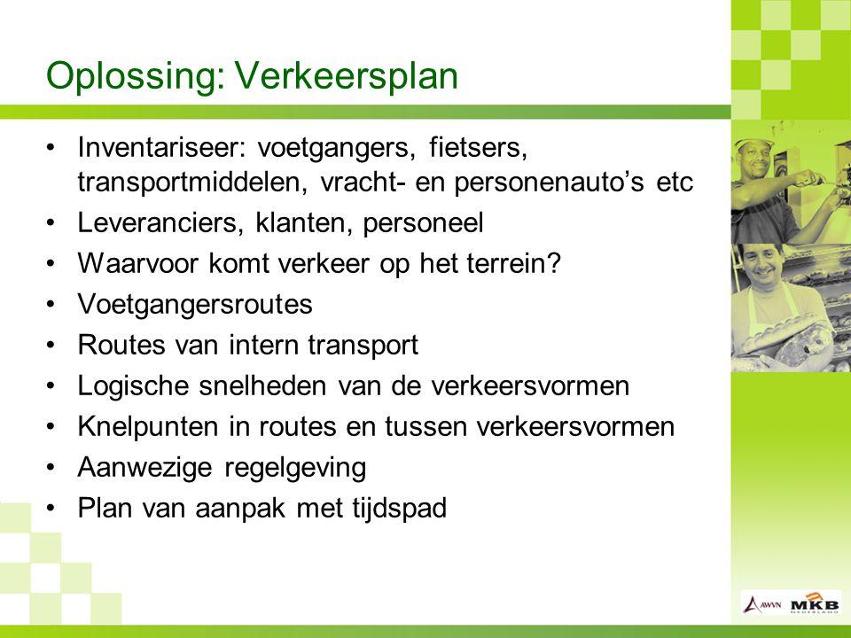Oplossing: Verkeersplan Inventariseer: voetgangers, fietsers, transportmiddelen, vracht- en personenauto's etc Leveranciers, klanten, personeel Waarvoor komt verkeer op het terrein.
