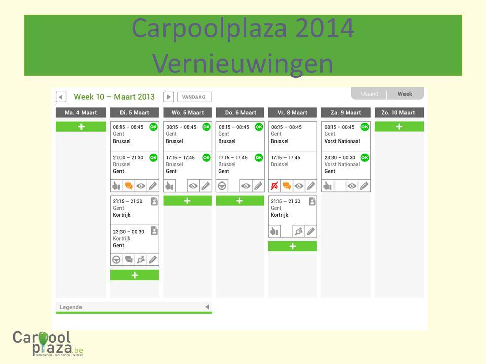 Op basis van input bedrijven: -Instellingen: -Op niveau van vestigingen -Carpoolen promoten: -Voor-inschrijvingen werknemers -Carpool beheren: -Module fiscaliteit, parkeren, gegarandeerde thuisrit -Statistieken evolutie (proactief) Carpoolplaza 2014 Vernieuwingen