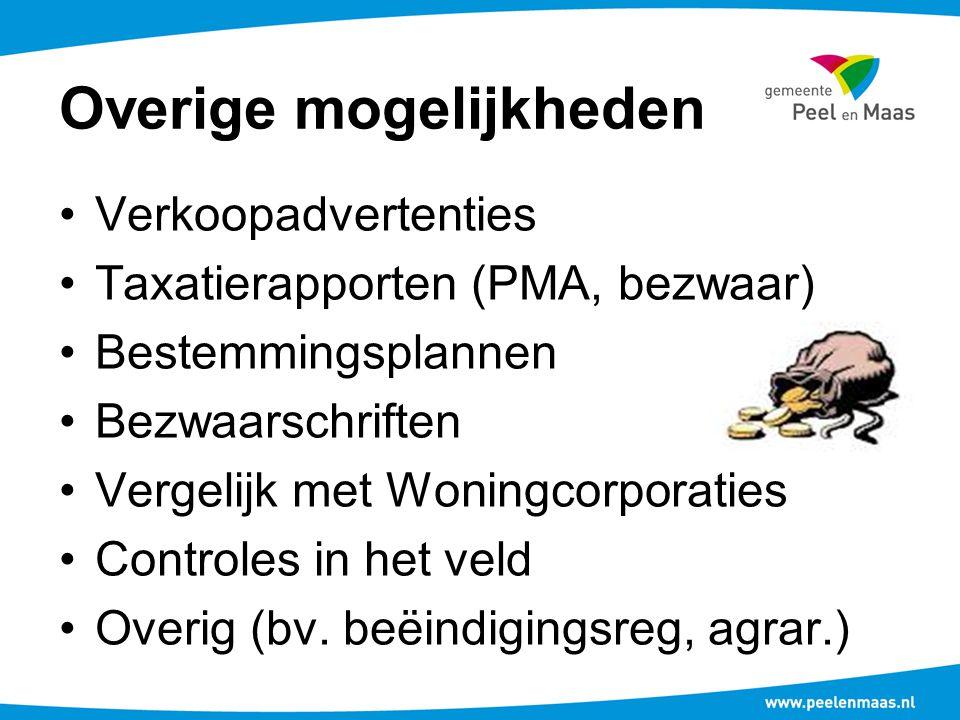 Overige mogelijkheden Verkoopadvertenties Taxatierapporten (PMA, bezwaar) Bestemmingsplannen Bezwaarschriften Vergelijk met Woningcorporaties Controles in het veld Overig (bv.