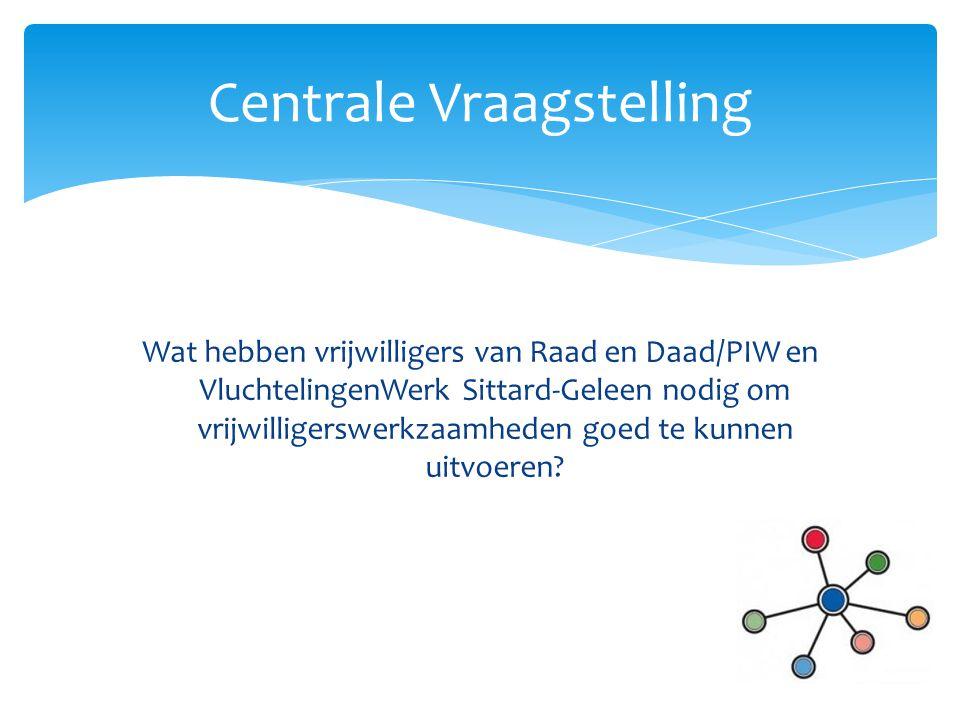 Wat hebben vrijwilligers van Raad en Daad/PIW en VluchtelingenWerk Sittard-Geleen nodig om vrijwilligerswerkzaamheden goed te kunnen uitvoeren? Centra