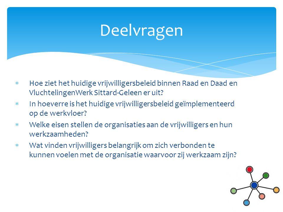  Hoe ziet het huidige vrijwilligersbeleid binnen Raad en Daad en VluchtelingenWerk Sittard-Geleen er uit?  In hoeverre is het huidige vrijwilligersb